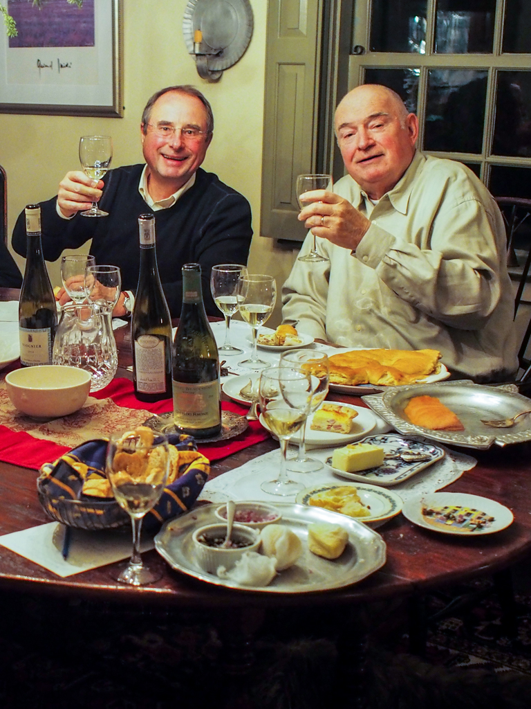 Jacques and Jerry at the table toasting to our Viogniers