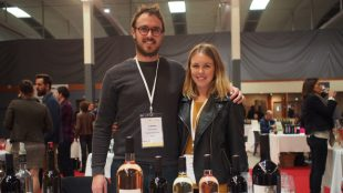 Siblings Fabien and Emilie Brotons were pouring wine from their family estate Clos de l'Ours winery.