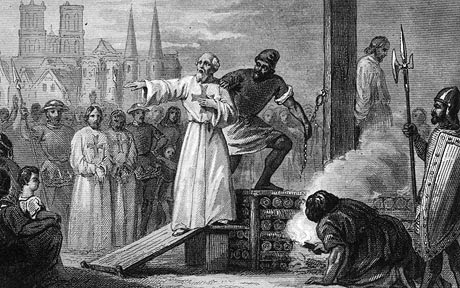 Martyr Molay...1314, Jacques de Molay (c. 1244 - 1314), the 23rd and Last Grand Master of the Knights Templar, is lead to the stake to burn for heresy. He is shouting to Pope Clement and King Philip that they will face 'a tribunal with God' within a year. They both died soon (Photo by Hulton Archive/Getty Images)