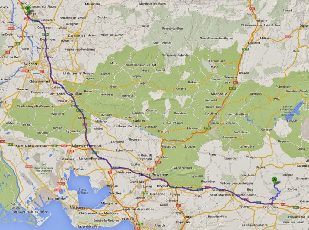 Correns, France to Autoroute du Sud de la France, 337 Chemin de la Sauvageonne, 84100 Orange, F - Windows Internet Explorer 10132013 52902 PM