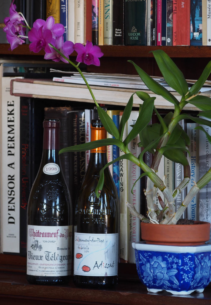 A classic 1998 Domaine du Vieux Télégraphe Chateauneuf-du-Pape next to the young upstart from Adissat. Photo by W.T. Manfull.
