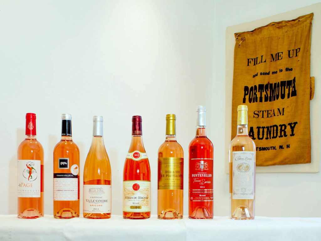 The line-up of darker rosés with, on the right, a bottle of Château Margui Perle de Margui rosé to illustrate the typical color of a Provence rosé. Photo by W.T. Manfull
