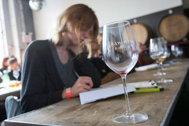 Studying during a talk at RAW WINE, Brooklyn 2016