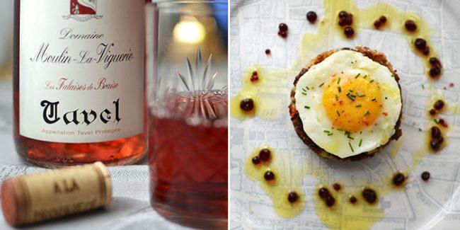 Duck Confit Cake and Domaine Moulin-la-Viguerie Tavel Wine